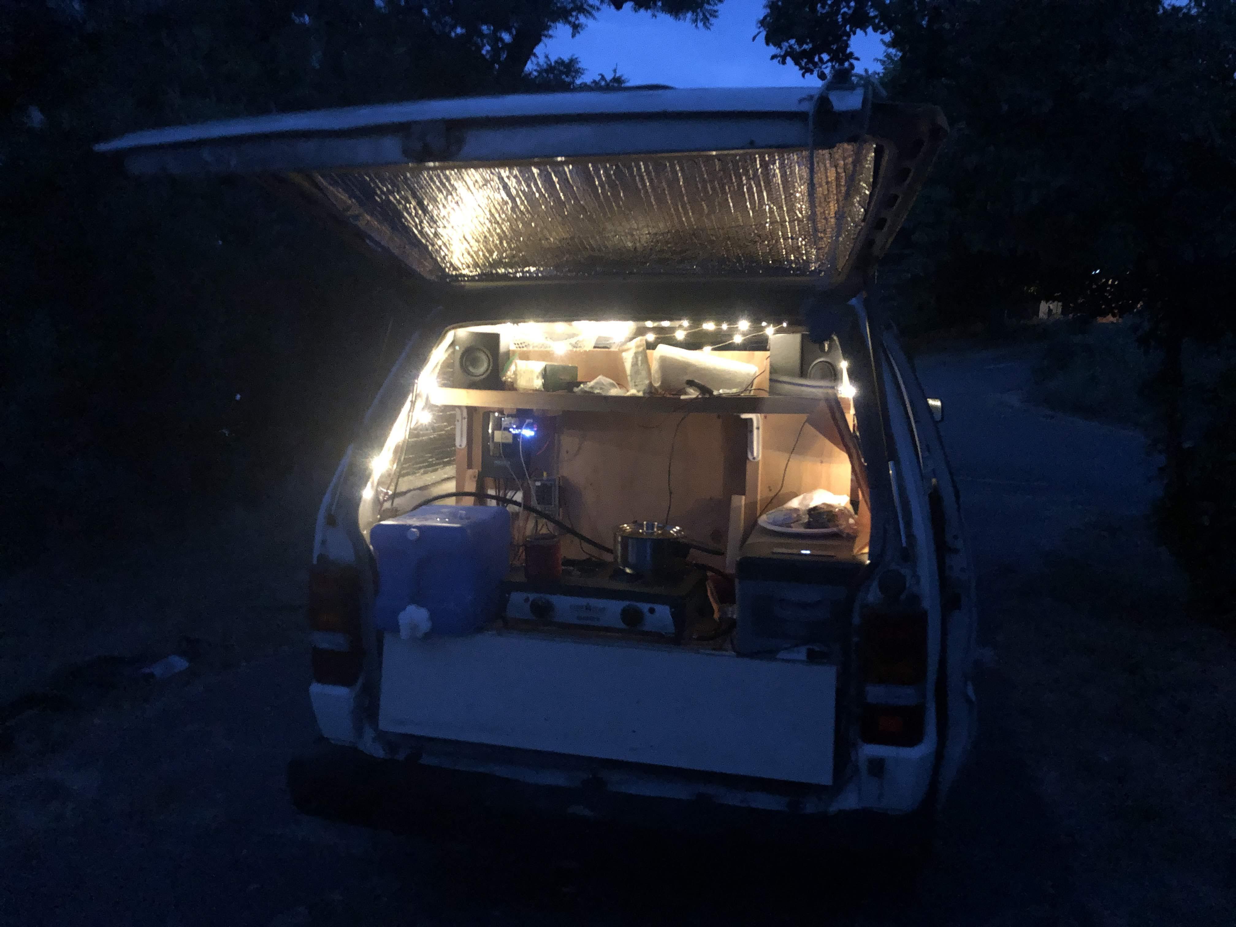 Back of Van at Night w/ 12v Fairy Lights