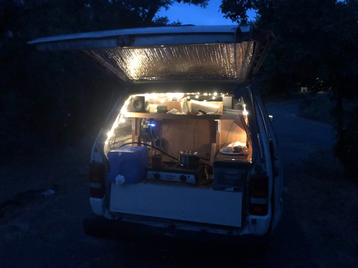Back of Van at Night w/ 12v Fairy Lights